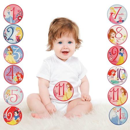 Disney Princess Milestone Photo Prop Belly Stickers, Baby Girls, Age 0-12M (Disney Princess Stickers)