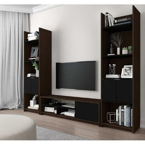 Bestar Small Space 3-Piece TV Stand and 2 Storage Towers Set in Dark Chocolate and Black