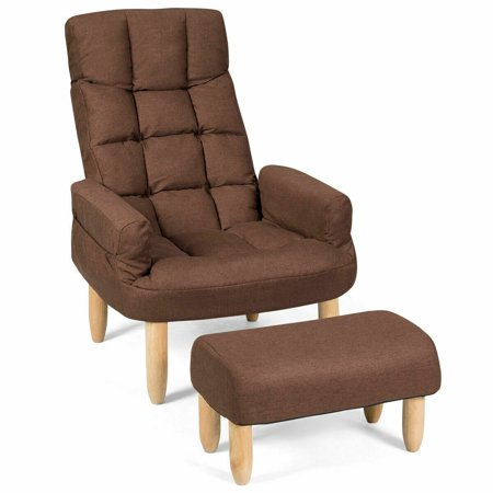 Costway Lazy Sofa Chair With Footstool Armrest Living Room Backrest Headrest Adjustable ()