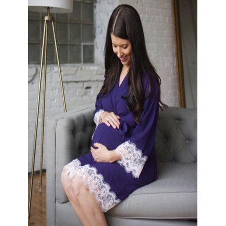 Women Maternity Dress Nursing Nightgown Breastfeeding Nightshirt Lace Sleepwear