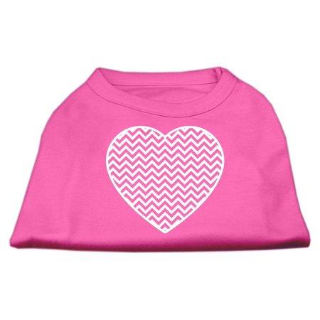 Chevron Heart Screen Print Dog Shirt Bright Pink Lg (14)