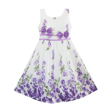 Girls Dress Purple Rose Flower Double Bow Tie Party Kids Sundress 4-5