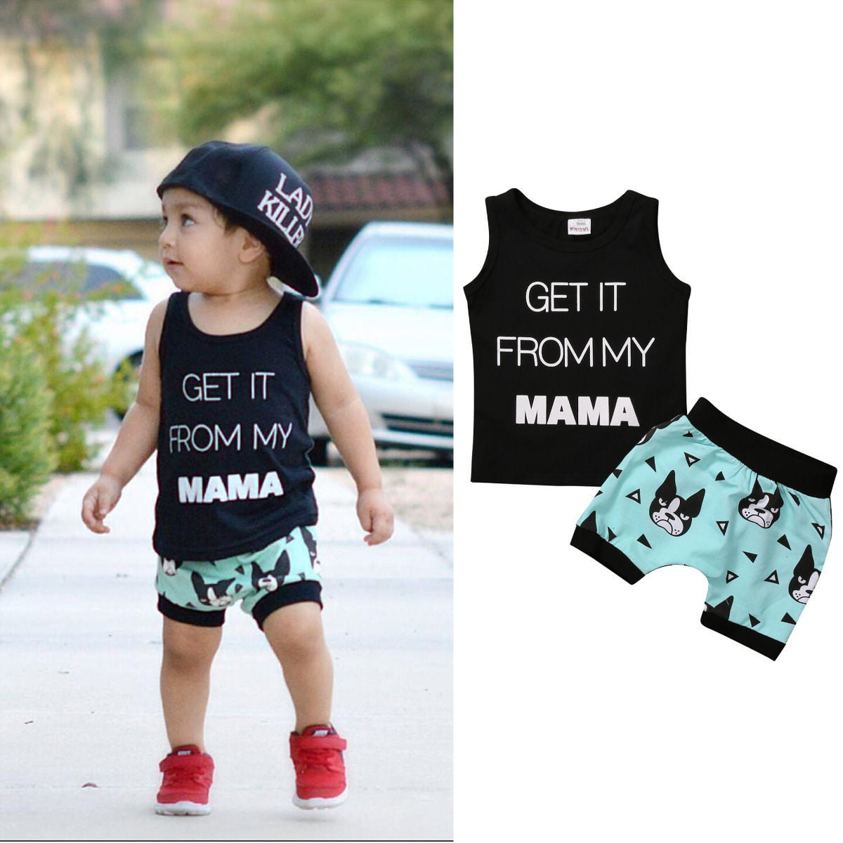 Toddler Kids Baby Boy Summer Clothes Tops T-shirt Pants Outfit Set Star Tee Set