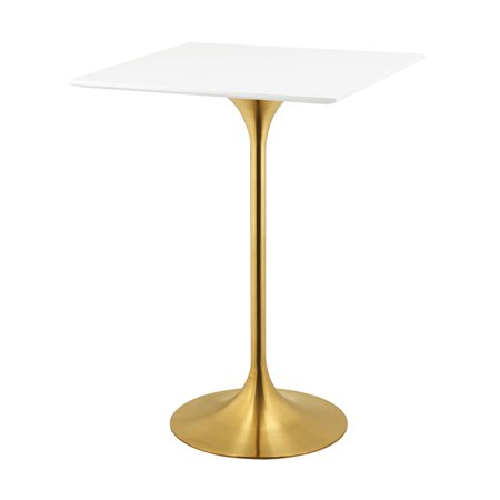 Art Deco Dining Set (Modern Deco Contemporary Urban Design Bar Pub and Dining Kitchen Bar Table, Metal Steel Wood, Gold White )
