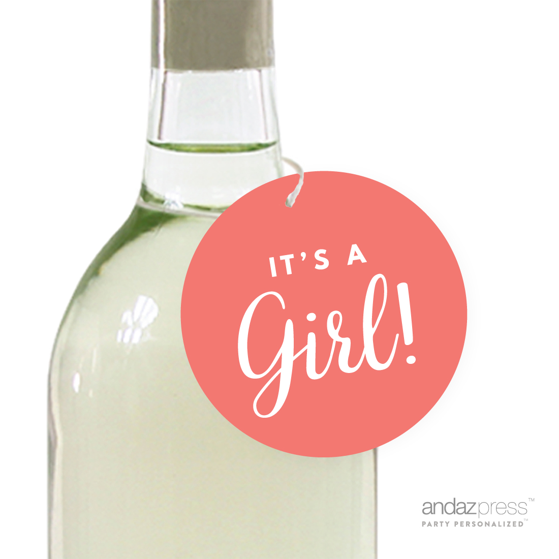 Coral It´s A Girl! Striped Circle Baby Shower Gift Tags, 24-Pack