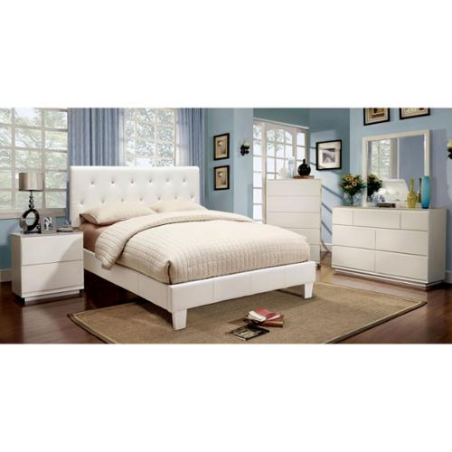 Furniture of America Mircella 4-piece White Leatherette Bedroom Set Cal. King - White