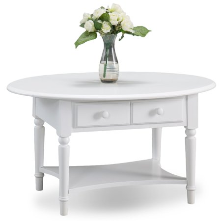 Oval Coffee Table With Shelf.Leick Home Coastal Oval Coffee Table With Shelf Multiple Colors