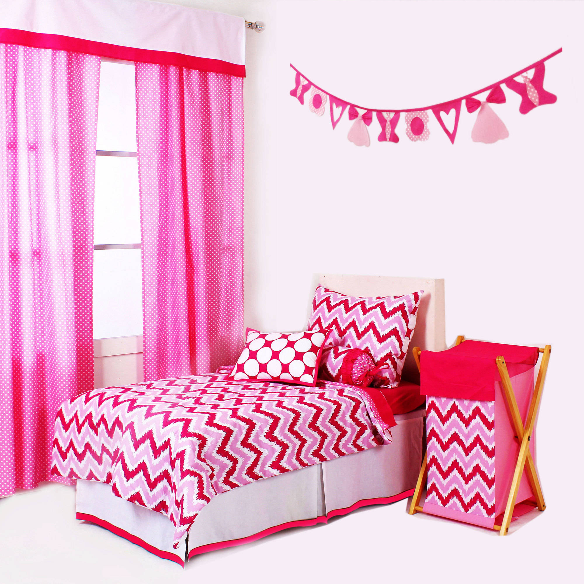 Bacati - MixNMatch 4 pc Toddler Bedding Set 100 Cotton Percale, Pink