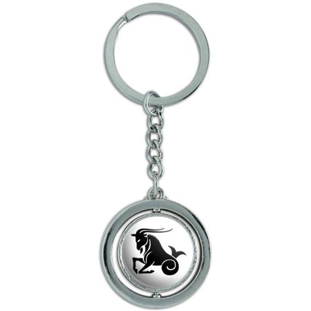 Capricorn The Sea Goat Zodiac Horoscope Spinning Round Metal Key Chain Keychain Ring