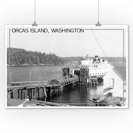 Orcas Island, Washington View of Ferry at Dock Photograph (9x12 Art Print, Wall Decor Travel