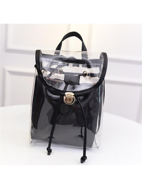 Meigar 2PCS Women Backpack Clear Transparent Satchel School Bag