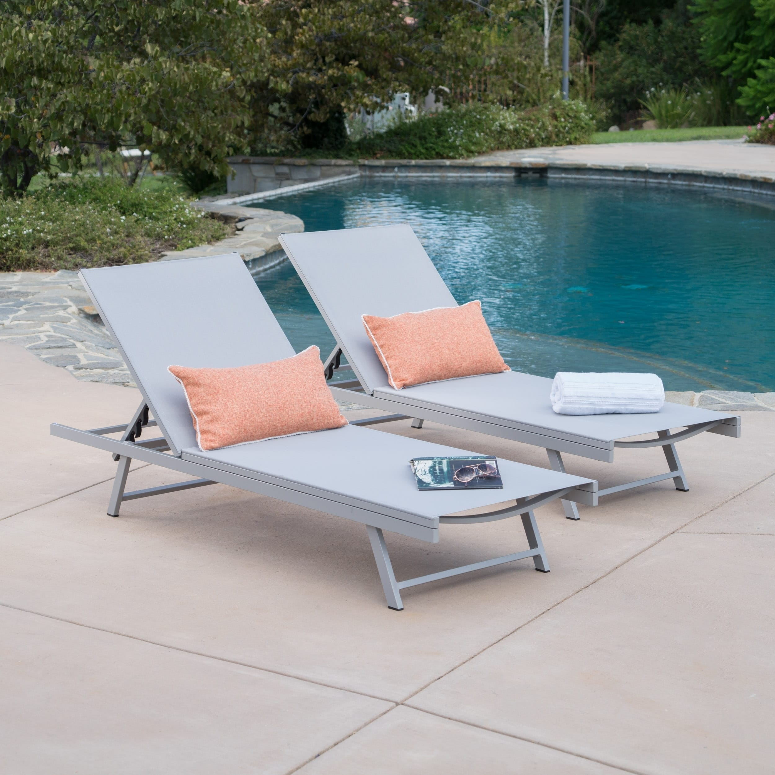 Christopher Knight Home Salton Outdoor Aluminum Chaise Lounge (Set of 2) by