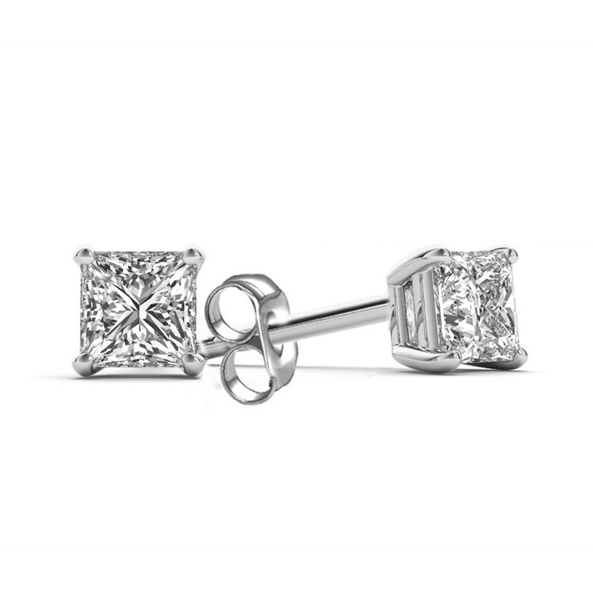 1 Carat T.W. Princess-Cut Diamond 14kt White Gold Stud Earrings