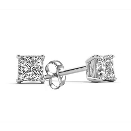 1 Carat Diamond Stud Earrings - 1 Carat T.W. Princess-Cut Diamond 14kt White Gold Stud Earrings
