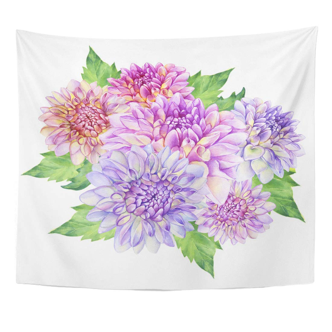 Zealgned Colorful Anemone Bouquet With Purple Dahlia Flower Watercolor Painting White Pink Flowered Wall Art Hanging Tapestry Home Decor For Living Room Bedroom Dorm 51x60 Inch Walmart Com Walmart Com