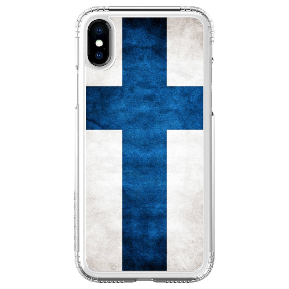 """SaharaCase iPhone X / XS (5.8"""" Screen) Clear Shockproof Custom Case By DistinctInk - Protective Kit & ZeroDamage Screen Protector - Finland Old Flag"""
