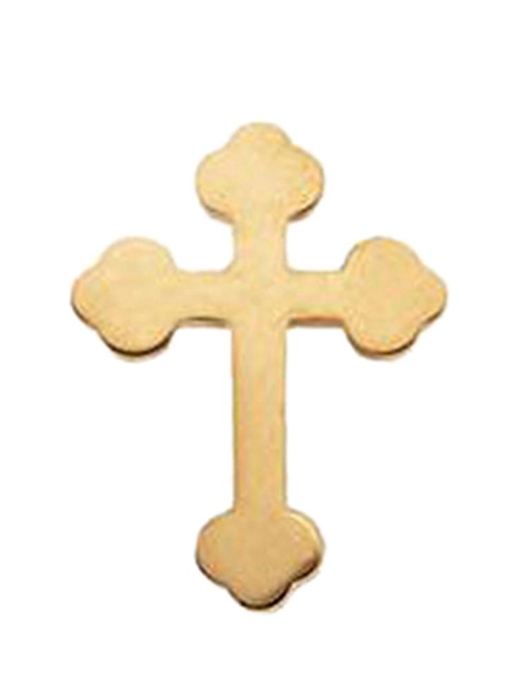 14K Yellow Gold Budded Cross Pin Brooch by