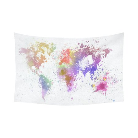 Gckg watercolor global colorful world map tapestry horizontal wall gckg watercolor global colorful world map tapestry horizontal wall hanging abstract splatters painting wall decor art for living room bedroom dorm cotton gumiabroncs Choice Image