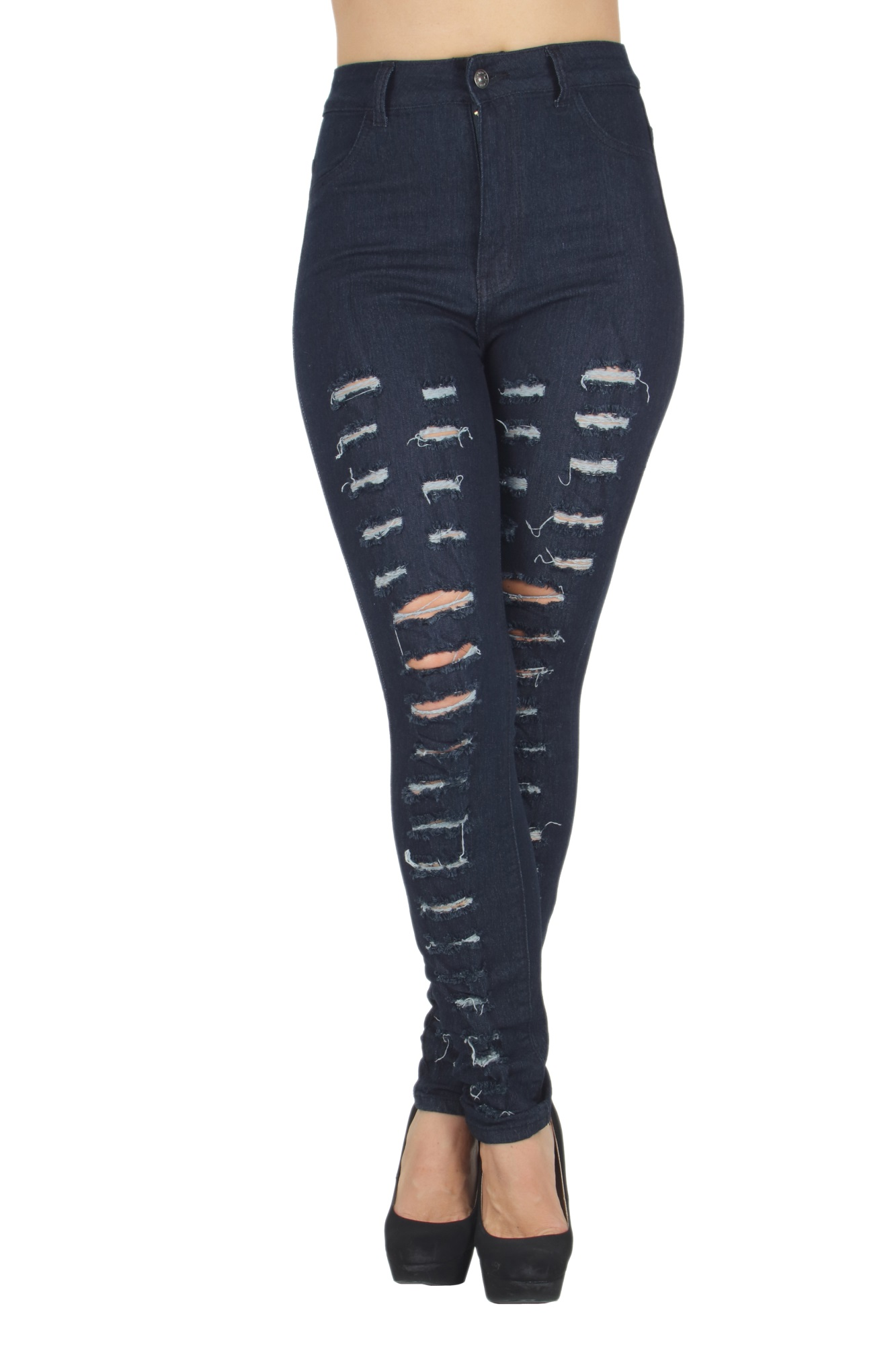 N520B-R - Butt Lifting, Destroyed, Ripped, High Waist, Sexy Skinny Jeans