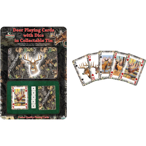 Rivers Edge Products 2-Pack Playing Cards and Dice Gift Tin, Mossy Oak Deer