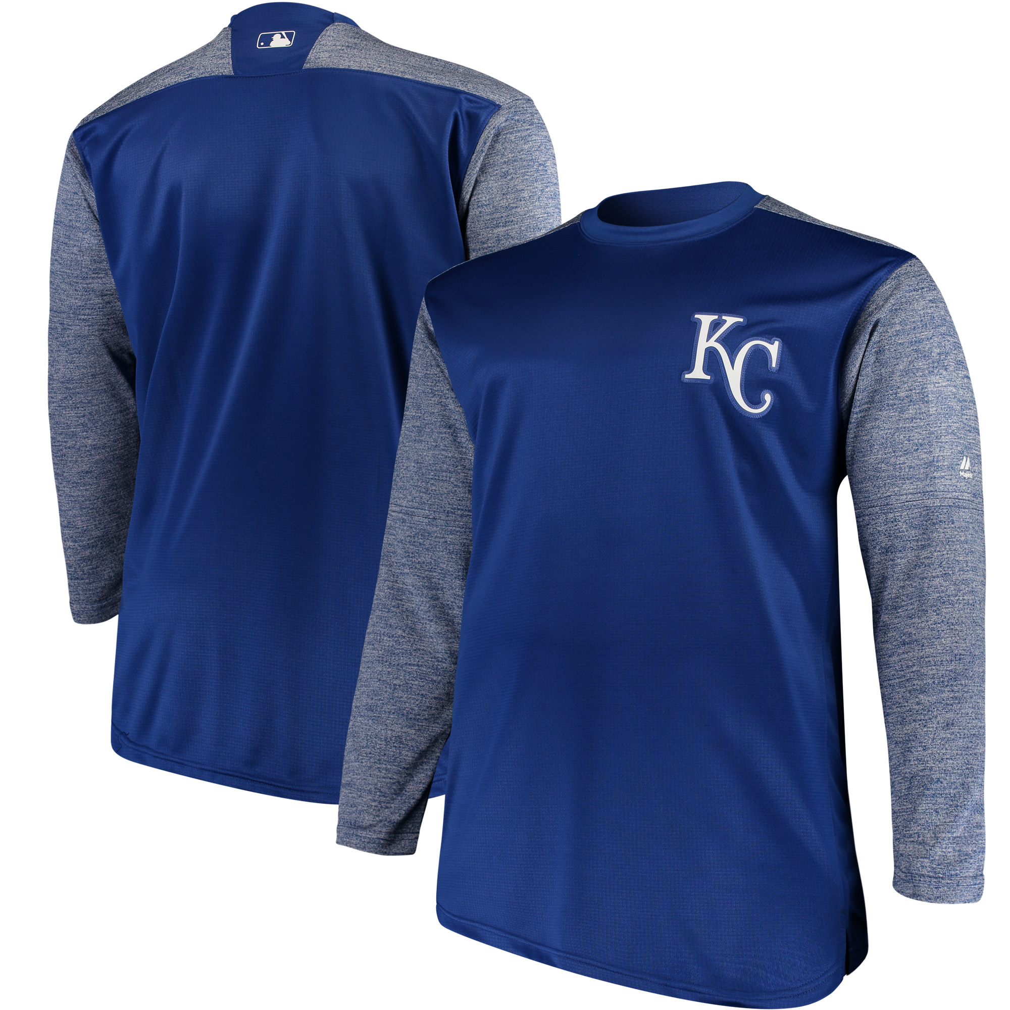 Kansas City Royals Majestic Big & Tall On-Field Tech Fleece Sweatshirt - Royal/Gray
