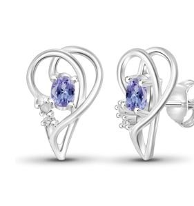 1/2 Carat T.G.W. Tanzanite and White Diamond Accent Sterling Silver Half Heart Earrings