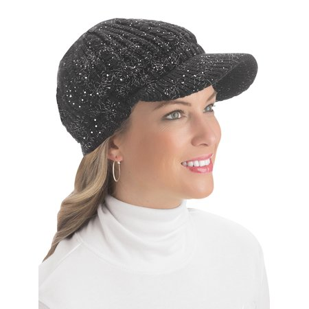 Lurex Cable Knit Beanie Hat with Visor Brim - Stylish Winter Accessories for Warmth, Black