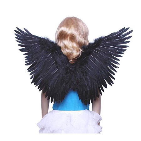 FashionWings (TM Children's Black Butterfly Style Costume Feather Angel Wings - Butterfly With Angel Wings