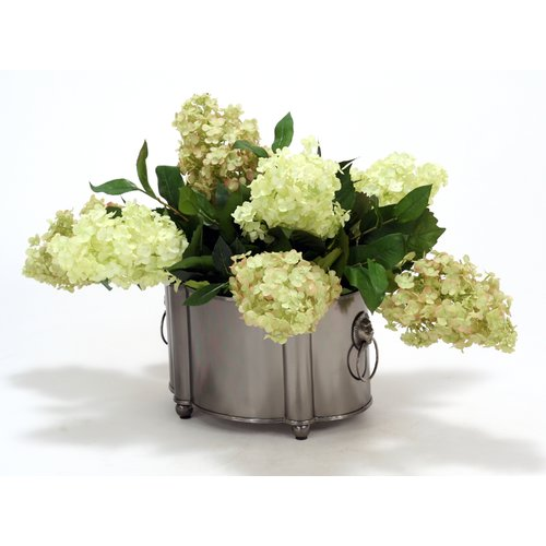 Distinctive Designs Silk Rose Hydrangeas in Planter