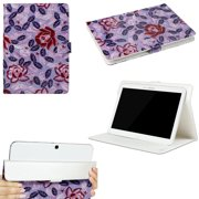 "JAVOedge Purple Rose Pattern Universal Book Case for 9-10"" Tablet, iPad Air, Samsung Note, Nook HD 9, Nexus 10, More"