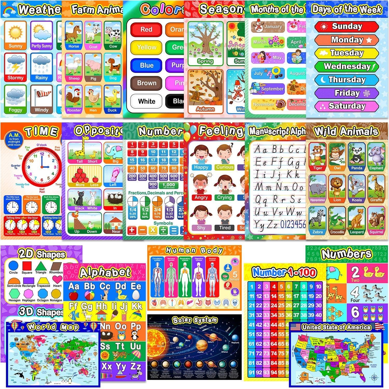 Educational Preschool Poster for Toddler Kid Learning Poster Homeschool Kindergarten Classroom Decorations Nursery Homeschool Playroom Teaching Poster 16 x 11 Inch Digital Style, 6PCS