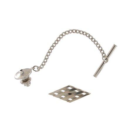 Men's Silver Tone Lattice Diamond Shape Tie Tac Tack Pin Gift