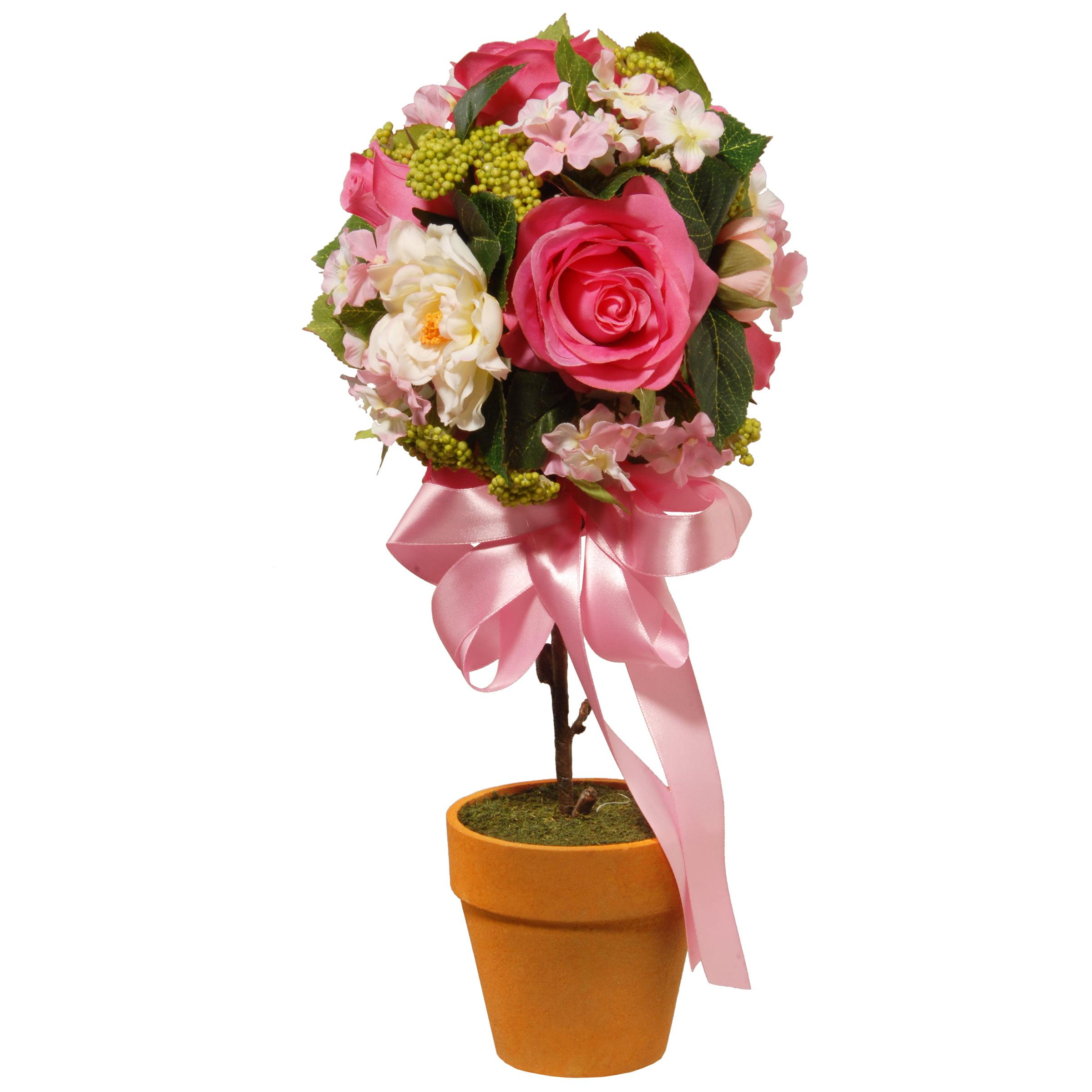 """National Tree Company 14"""" Rose and Hydrangea Topiary"""