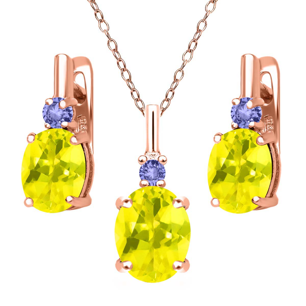 6.98 Ct Canary Mystic Topaz Blue Tanzanite 18K Rose Gold Plated Silver Pendant Earrings Set by