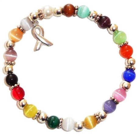 Stretchy 18 Colors Packaged Cancer Awareness Bracelet 6mm