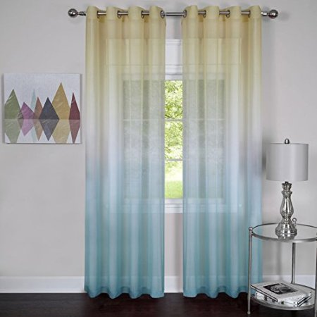 Prisma Set of 2 Ombre Sheer Window Curtain Panels (52