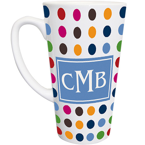 Personalized Polka Dot Latte Mug, Blue