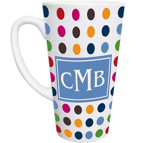 Personalized Polka Dot 16oz Latte Mug, Blue