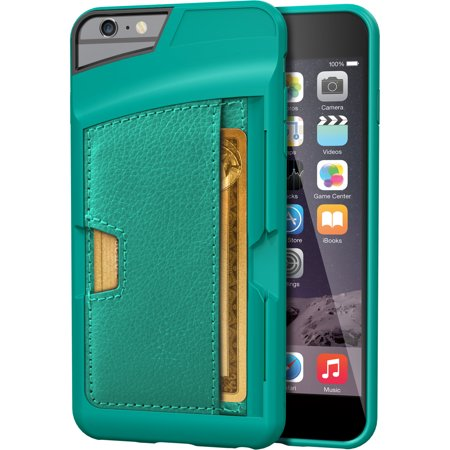pretty nice ac12b bd95d Silk iPhone 6 Plus/6s Plus Wallet Case - Q Card CASE [Slim Protective  Kickstand CM4 Credit Card ID Phone Cover] - Wallet Slayer Vol.2 - Pacific  Green