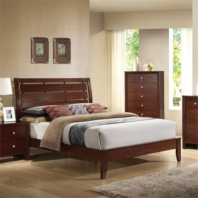 ACME Ilana Queen Sleigh Bed in Brown Cherry by Acme Furniture