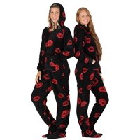 4e39915c9836 Product Image Footed Pajamas - Pucker Up Adult Hoodie Chenille Onesie