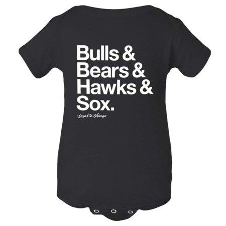 PleaseMeTees™ Baby Jumpsuit Loyal to Chicago Bulls Bears Blackhawks White Sox Sports Creeper - Bull And Bear Chicago Halloween