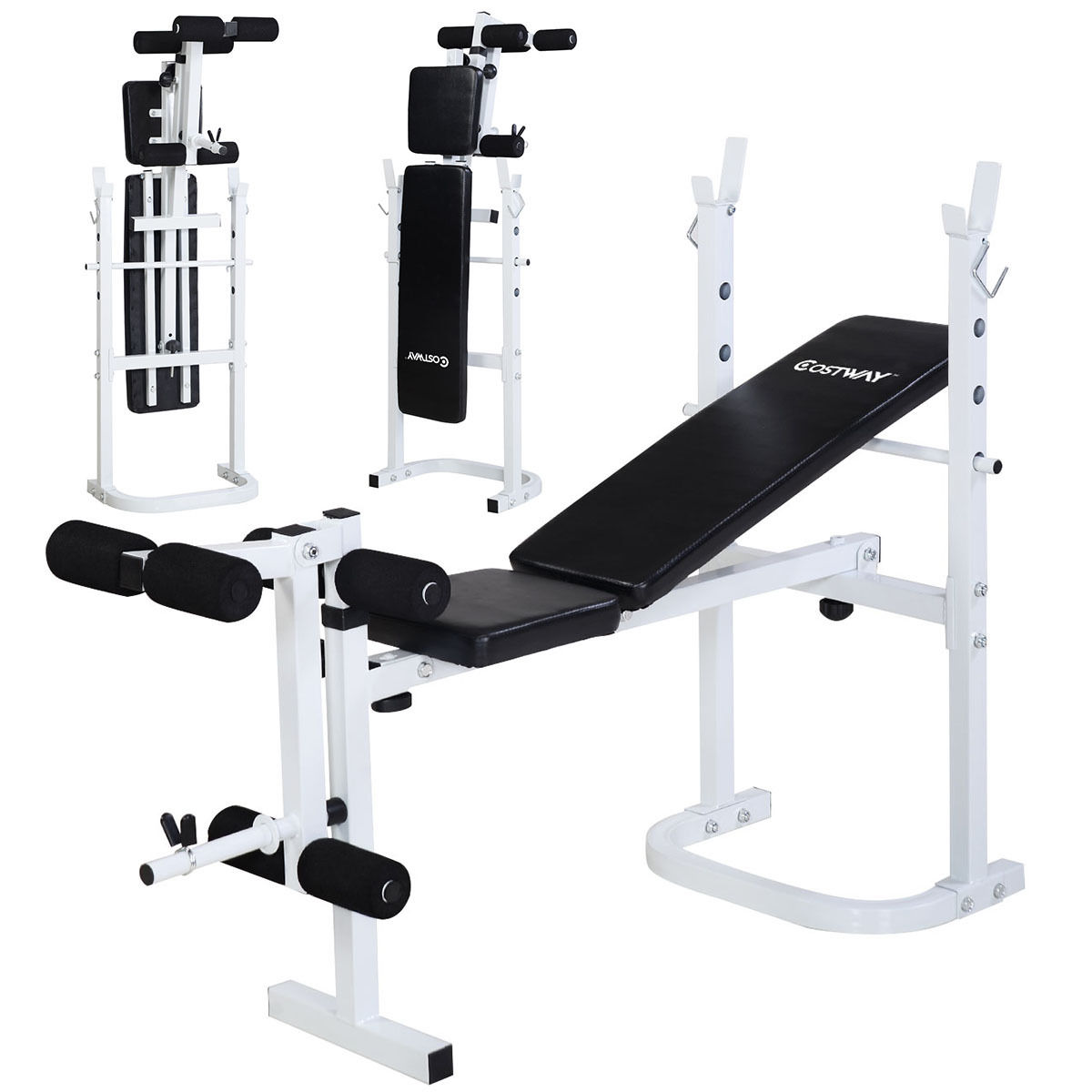 Awesome Costway Olympic Folding Weight Bench Incline Lift Workout Press Home    Walmart.com