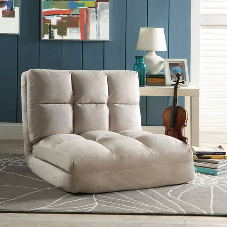 Loungie Beige Microsuede Flip Chair - Sleeper | Dorm Bed | Lounger Seat or Sofa | (10 Best Sofa Beds)