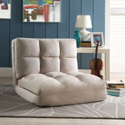 Loungie Beige Microsuede Flip Chair - Sleeper | Dorm Bed | Lounger Seat or Sofa | Portable