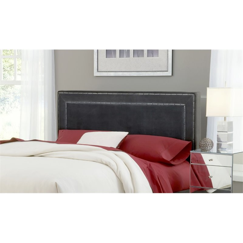 Hillsdale Amber Upholstered King Panel Headboard in Pewter