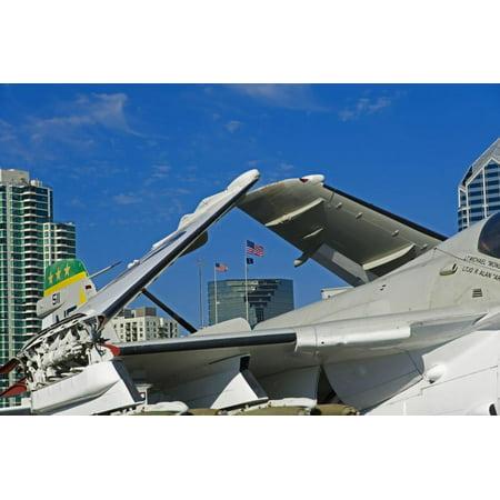American Flags Framed Through Jet Wings, San Diego, California, USA Print Wall Art By Richard