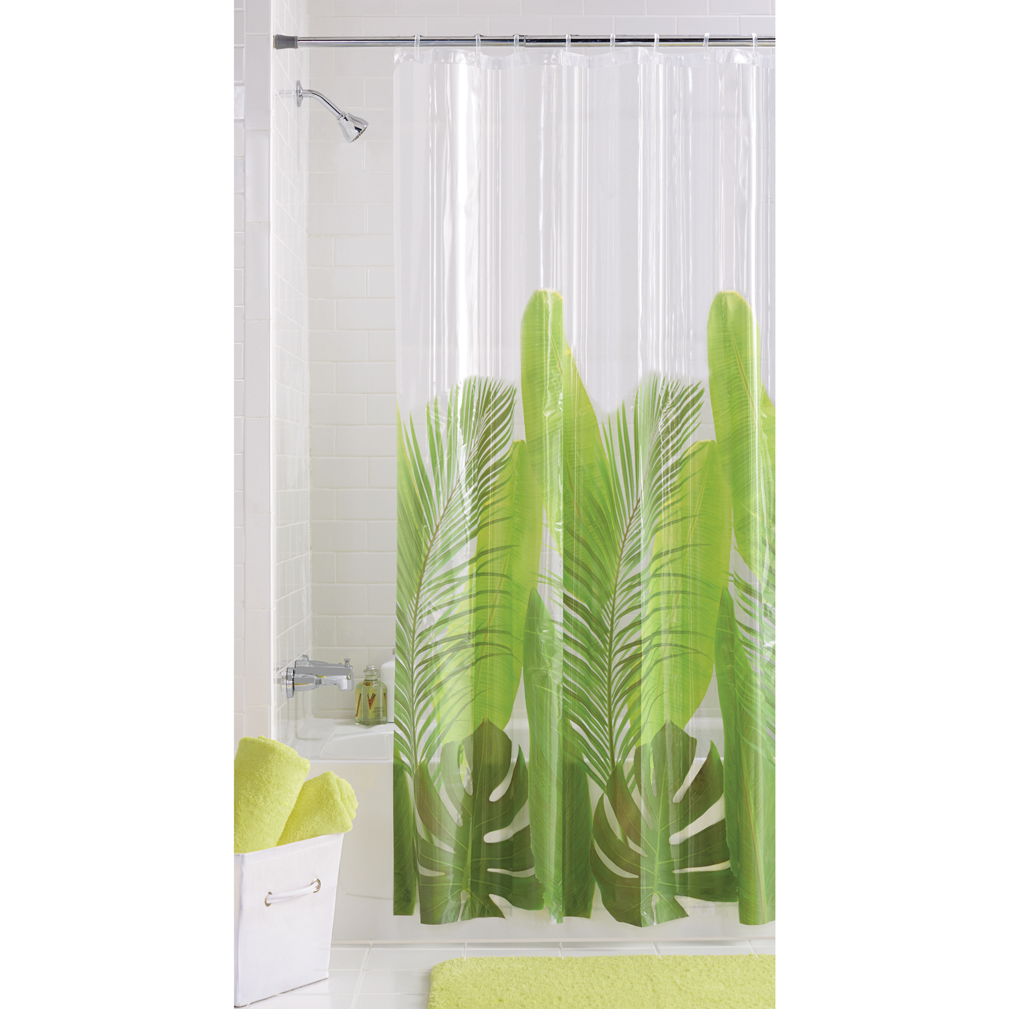 Mainstays Tropical Leaf Vinyl Shower Curtain by Maytex Mills