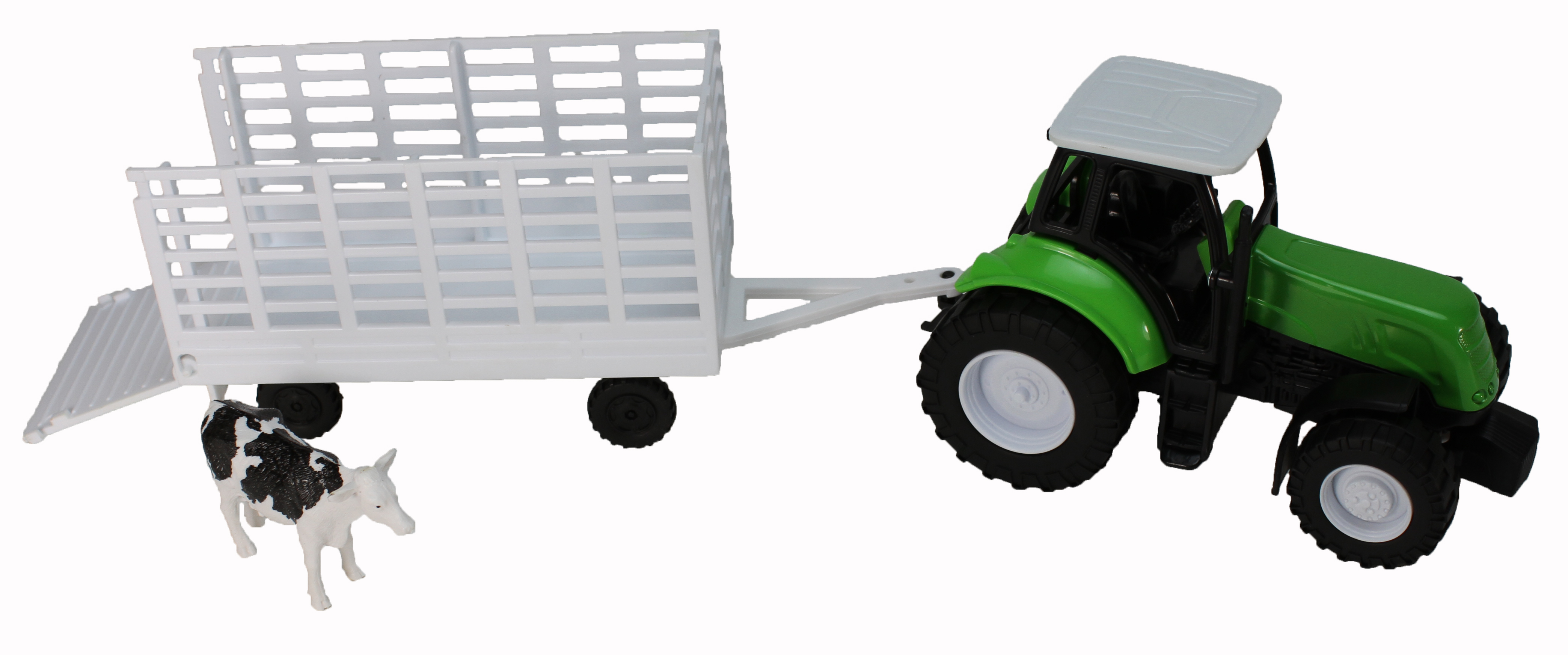 Green Farm Tractor with Attachable Cattle Trailer by NewRay