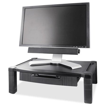 Kantek Wide Screen Adj Monitor Stand W/drawer - 60 Lb Monitor - Black - Desktop (MS520)